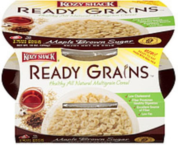 Kozy Shack Maple Brown Sugar 2-7oz Bowls Ready Grains Natural Multigrain Cereal - 14 oz
