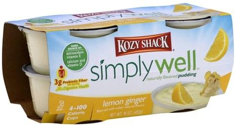 Kozy Shack Naturally Flavored, Lemon Ginger Pudding - 4 ea