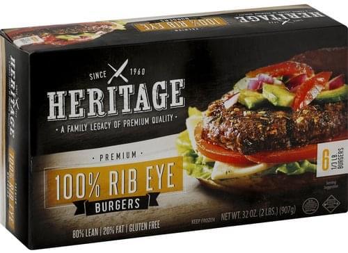 Heritage 80%/20%, 100% Rib Eye, 1/3 Pound Burgers - 6 ea