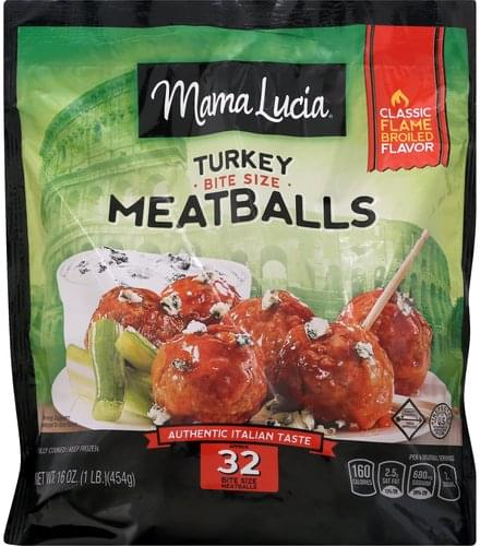 Mama Lucia Turkey, Bite Size Meatballs - 16 oz, Nutrition