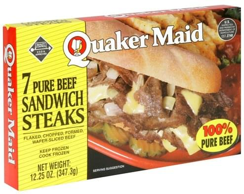 Quaker Maid Pure Beef Sandwich Steaks - 7 ea