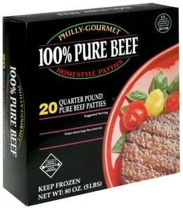 Philly Gourmet 100% Pure Beef Quarter Pound Homestyle Patties