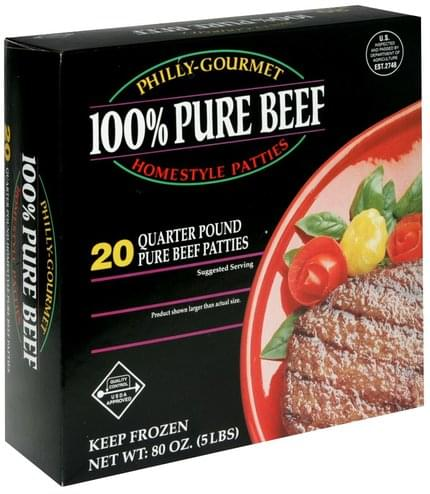 Philly Gourmet 100% Pure Beef Quarter Pound Homestyle Patties - 20 ea