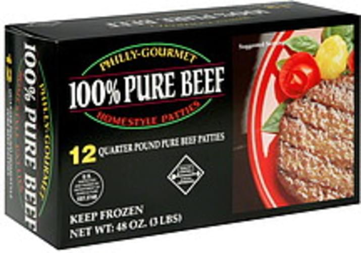 Philly-Gourmet 100% Pure Beef Quarter Pound Homestyle Patties - 12 ea