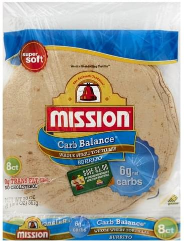 Mission Whole Wheat, Burrito Tortillas - 8 ea