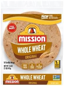 Mission Tortillas Wraps Whole Wheat, Original