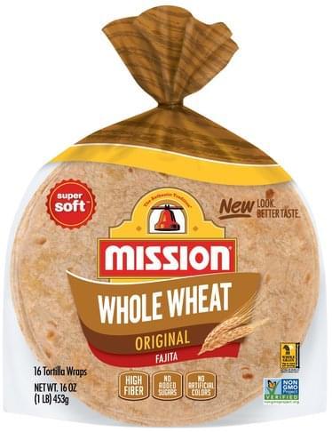 Mission Tortilla Wraps, Whole Wheat, Original Tortillas Wraps - 16 ea