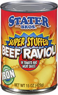 Stater Bros. Beef Ravioli In Tomato & Meat Sauce Super Stuffed