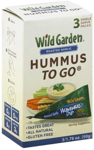 Wild Garden Roasted Garlic, To Go, Single Serve Packs Hummus Dip - 3 ea