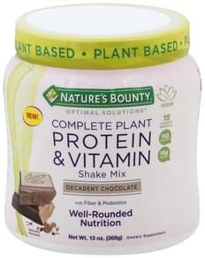 Natures Bounty Shake Mix Shake mix, Complete Plant Protein & Vitamin, Decadent Chocolate