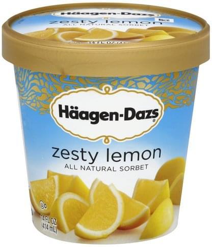 Haagen Dazs All Natural, Zesty Lemon Sorbet - 14 oz