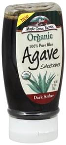 Maple Grove Farms Blue Agave Sweetener Organic, 100% Pure, Dark Amber
