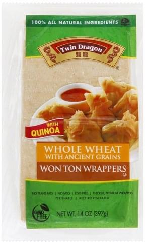Twin Dragon Whole Wheat Won Ton Wrappers - 14 oz