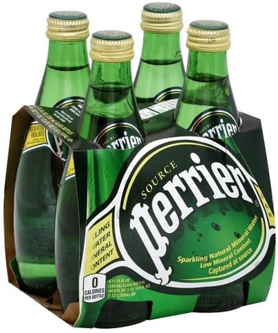 Perrier Natural Mineral Sparkling Water - 4 ea