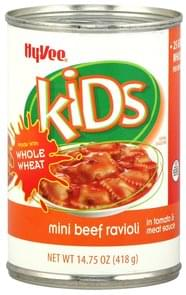 Hy Vee Ravioli Mini, Beef, in Tomato & Meat Sauce
