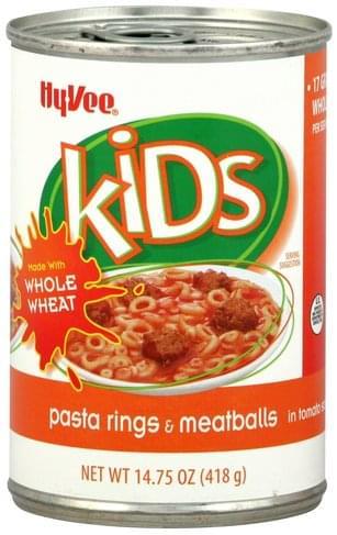 Hy Vee & Meatballs, in Tomato Sauce Pasta Rings - 14.75 oz