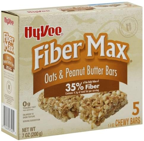 Hy Vee Oats & Peanut Butter Chewy Bars, Fiber Max - 5 ea