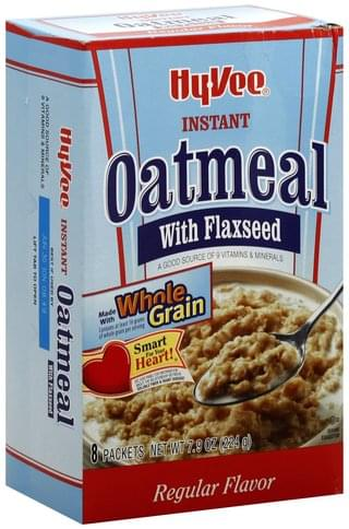 Hy Vee with Flaxseed, Regular Flavor Instant Oatmeal - 8 ea