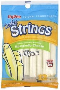 Hy Vee String Cheese Natural, Light, Mozzarella