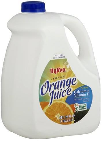 Hy Vee Premium, No Pulp, Calcium & Vitamin D Orange Juice - 128 oz