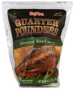Hy Vee Ground Beef Patties Quarter Pounders, 85/15