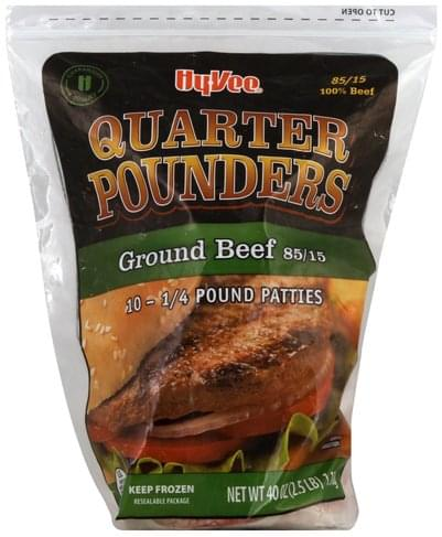 Hy Vee Quarter Pounders, 85/15 Ground Beef Patties - 10 ea