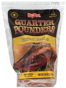 Hy Vee Ground Beef Patties Quarter Pounders, 91/9