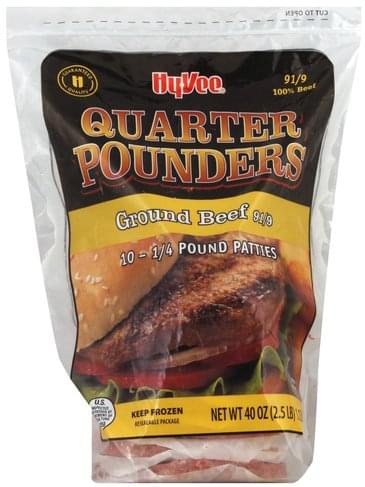 Hy Vee Quarter Pounders, 91/9 Ground Beef Patties - 10 ea