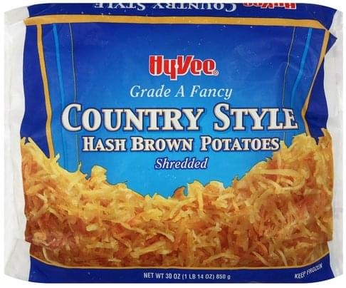 Hy Vee Hash Brown, Country Style, Shredded Potatoes - 30 oz