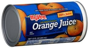 Hy Vee Orange Juice 100%, with Added Calcium, Frozen Concentrate