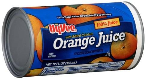 Hy Vee 100%, with Added Calcium, Frozen Concentrate Orange Juice - 12 oz