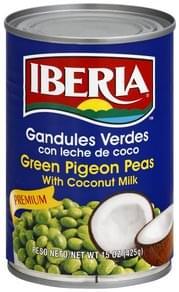 Iberia Green Pigeon Peas Premium, with Coconut Milk