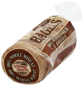 Village Hearth Bagels 100% Whole Wheat, Pre-Sliced