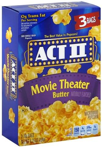 Act Ii Movie Theater Butter Microwave Popcorn 3 Ea Nutrition Information Innit