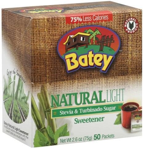 Batey Stevia & Turbinado Sugar, Natural, Light Sweetener - 50 ea