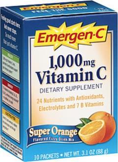 Emergen-C Vitamin C Super Orange Flavored Fizzy Drink Mix 1000mg
