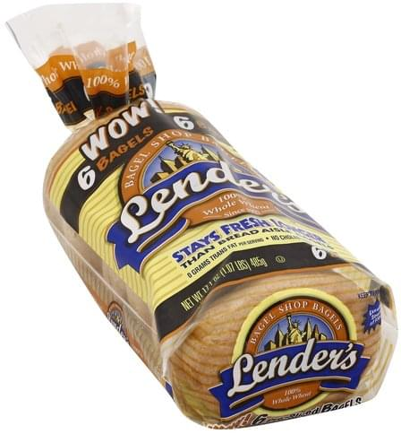 Lenders 100% Whole Wheat, Pre-Sliced Bagels - 17.1 oz