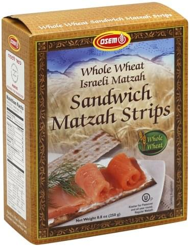 Osem Sandwich, Whole Wheat Matzah Strips - 8.8 oz