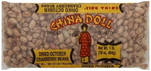China Doll October, Dried Cranberry Beans - 16 oz