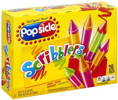Popsicle Scribblers, 20 Pack Ice Pops - 20 ea