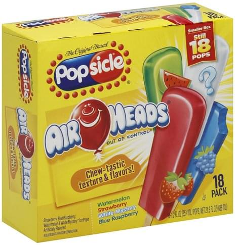 Popsicle Air Heads Ice Pops - 18 ea