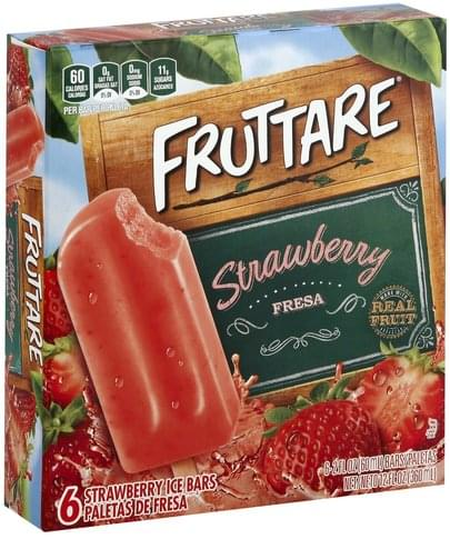 Fruttare Strawberry Ice Bars - 6 ea