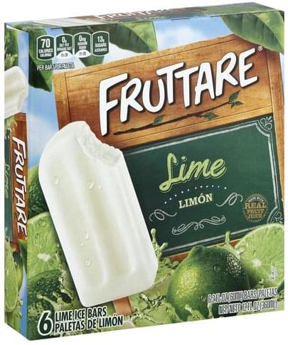 Fruttare Lime Ice Bars - 6 ea