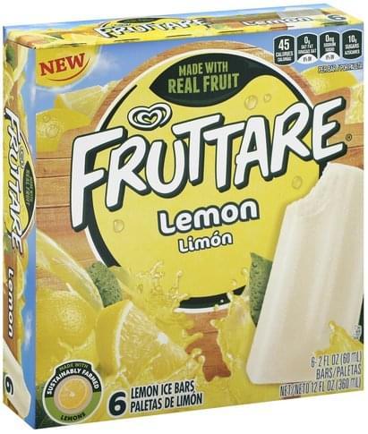 Fruttare Lemon Ice Bars - 6 ea