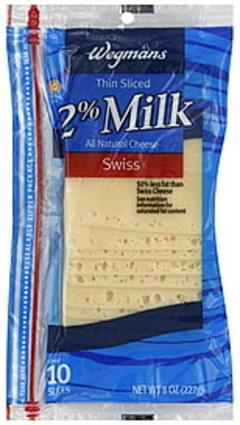 Wegmans Thin Sliced Cheese Swiss, 2% Milk