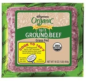 Wegmans Beef Grass Fed Ground Beef, 93/7