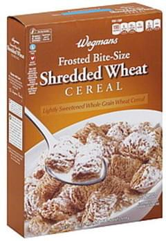 Wegmans Cereal Shredded Wheat, Frosted, Bite-Size