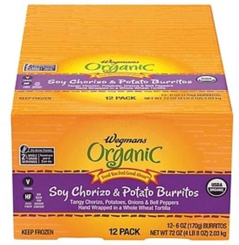 Wegmans Soy Chorizo & Potato Burritos Mexican Food - 12 pkg