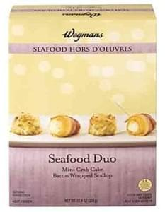 Wegmans Frozen Appetizers & Entrees Seafood Hors D'Oeuvres, Seafood Duo, Mini Crab Cake and Bacon Wrapped Scallop