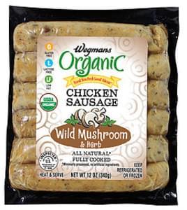 Wegmans Hot Dogs & Sausages Chicken Sausage, Wild Mushroom & Herb